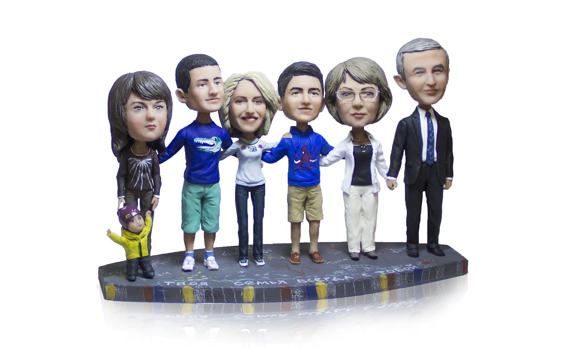 Семейный скульптура по фото на 7 человек Большая семейка