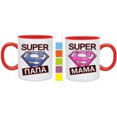 Парные кружки Super mama, Super papa