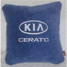 Синяя подушка с белой вышивкой Kia cerato