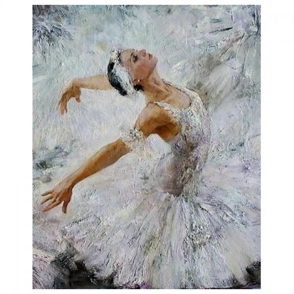Картина-раскраска по номерам на холсте Балерина
