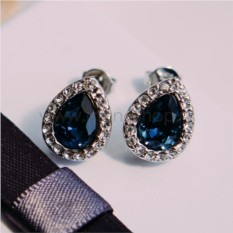 Серьги «Хрустальные капли» с синими кристаллами Сваровски