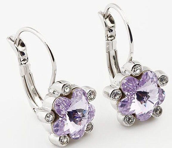 Серьги с кристаллами Swarovski Цветы фиолетовые