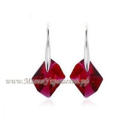 Серьги Рубин темно-алые с кристаллами Сваровски