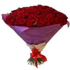 Букет из 101 красной розы (50 см) в крафте