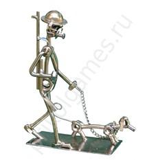 Фигурка из металла Охотник с собакой.