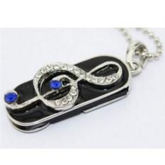 Флешка Скрипичный ключ брелок с синими стразами