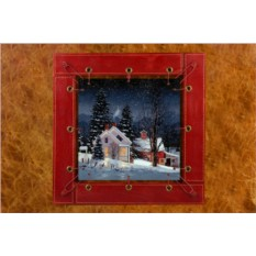 Картина из кожи Зимняя сказка Фред Свон