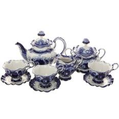 Чайный набор на 6 персон с Гжельской росписью Нежное утро