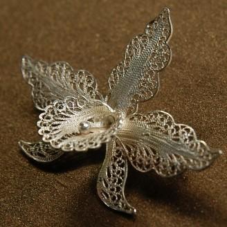 Серебряная брошь «Орхидея»