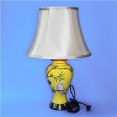 Керамическая лампа с абажуром (желтая с попугаями)