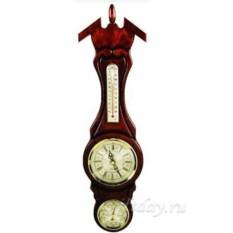 Настенные часы из темного бука с барометром