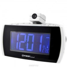 Белые радиочасы с проектором First 1.8 LED, FМ
