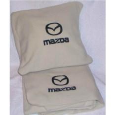 Бежевый плед с черной вышивкой Mazda