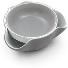 Серое с белым блюдо для снека Double Dish