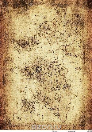 Рисовая карта для декупажа Кустарь Старинная карта мира №4