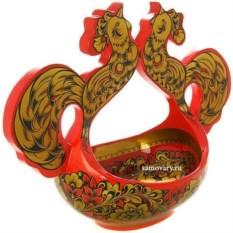 Ковш с хохломской росписью Поющие петушки