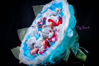 Букет из мягких игрушек (синий, семь мишек)