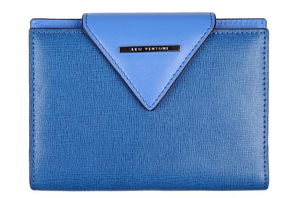 Синяя кожаная женская обложка для паспорта Leo Ventoni