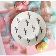 Фарфоровая тарелка Розовый фламинго