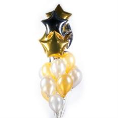 Облако серебряных и золотых шариков со звездами