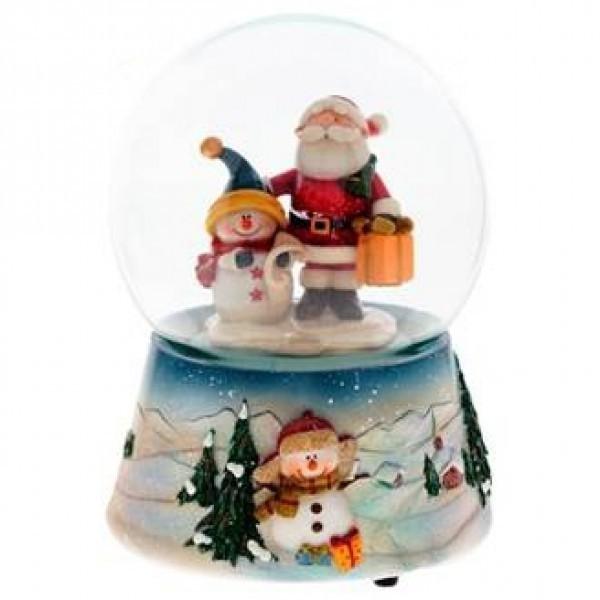 Музыкальный шар Дед Мороз и снеговик