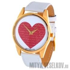 Часы Mitya Veselkov Сердце с коричнево-белым браслетом