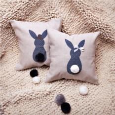 Декоративная льняная подушка Кроль-мальчик с хвостом