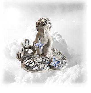 Сувенир серебряный Ангел с бабочками на облаке