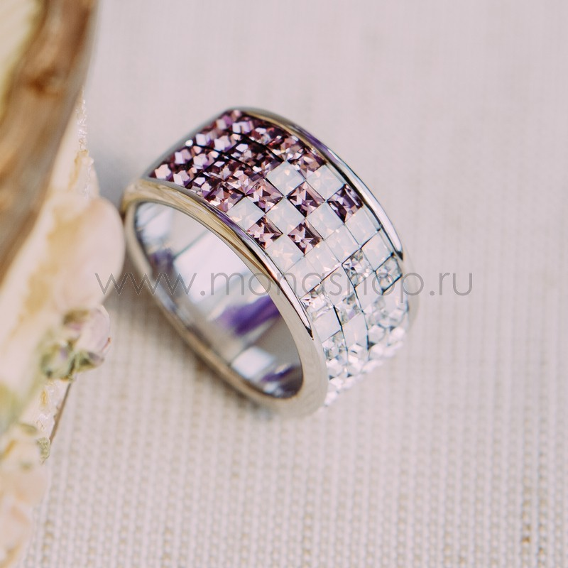 Кольцо «Рассвет» с фиолетовыми кристаллами Swarovski