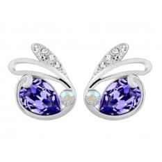 Серьги «Зайчики» с фиолетовыми камнями Сваровски