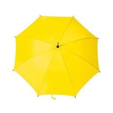 Желтый полуавтоматический зонт-трость с деревянной ручкой