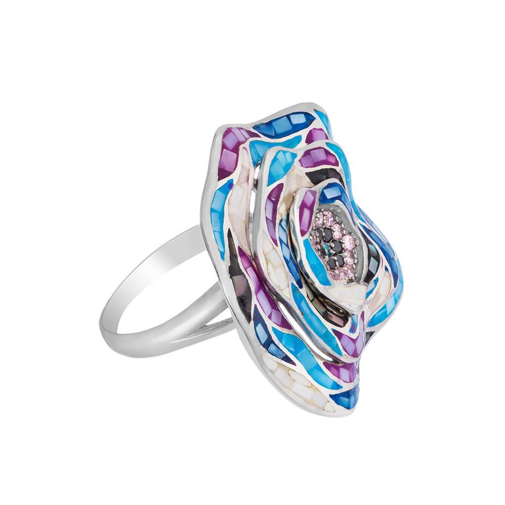 Кольцо с эмалью, фианитами и мозаикой из перламутра