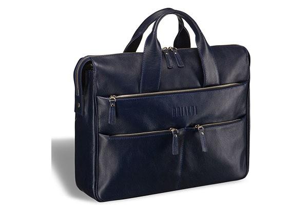 Вместительная темно-синяя деловая сумка Brialdi Manchester
