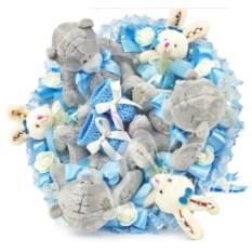 Голубой букет с игрушками на выписку для мальчика