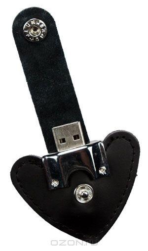 USB-флеш накопитель Сердце на застежке, цвет: черный, 4 Гб