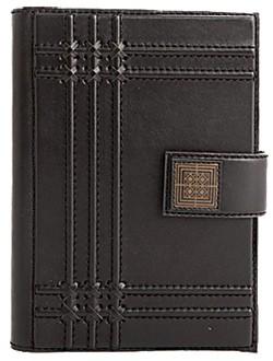 Ежедневник кожаный, черный с линиями