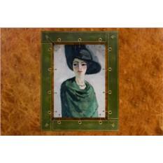 Картина из кожи Женщина в черной шляпе Ван Кес Донген