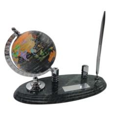 Мраморный настольный набор: глобус, визитница, ручка
