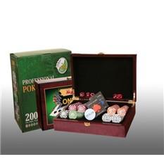 Покер в деревянном кейсе, 200 фишек