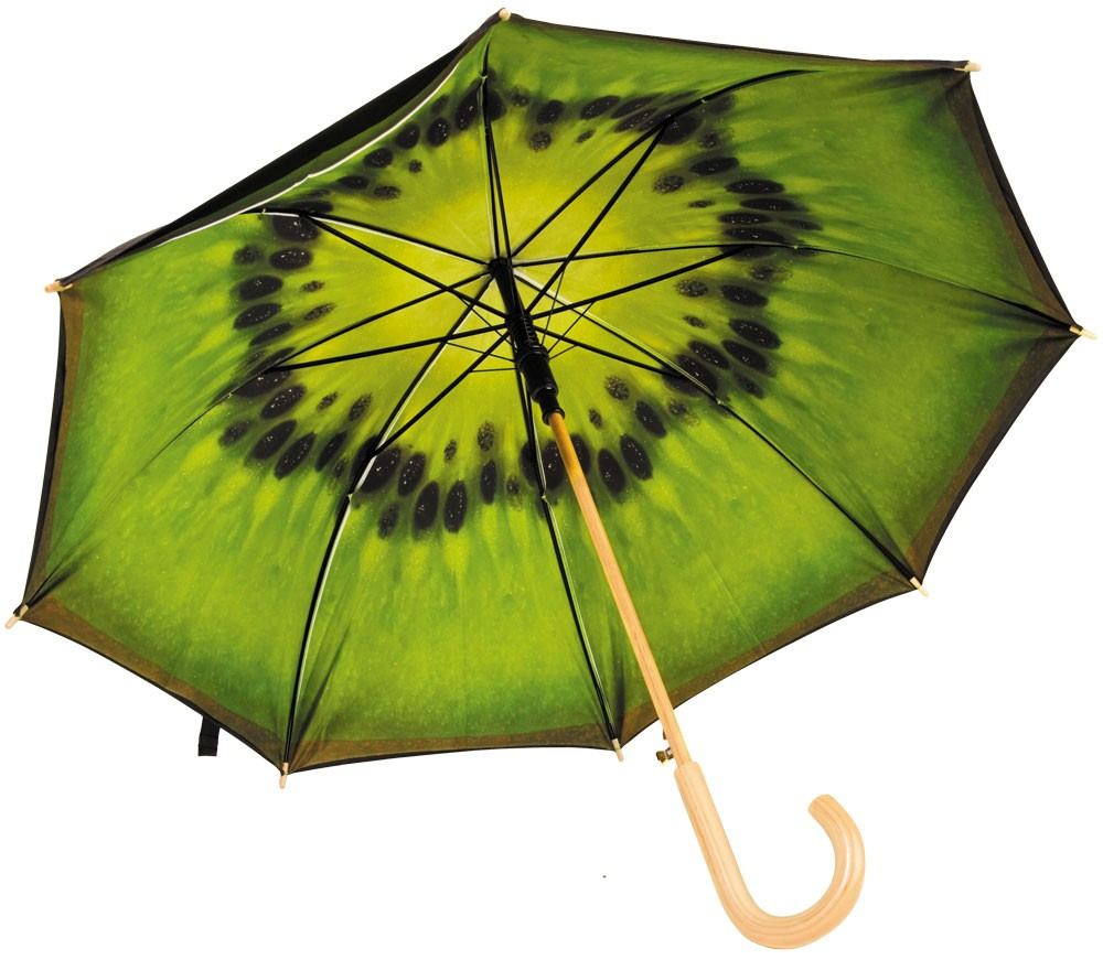 Механический зонт-трость с деревянной ручкой  Зеленый киви