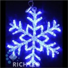 Акриловая светодиодная снежинка синего цвета (40 см)
