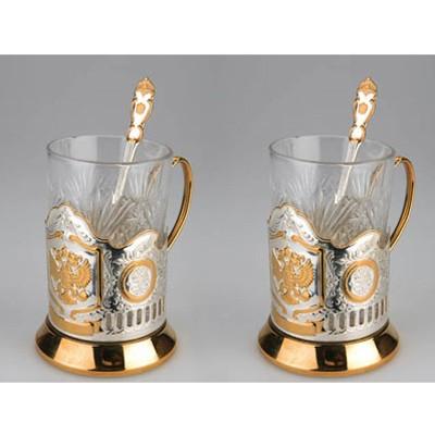 Набор: 2 стакана с подстаканниками Герб России