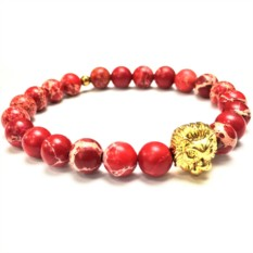Мужской браслет из красного варисцита с головой Льва