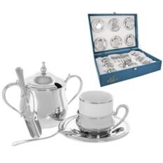 Кофейный сервиз Элегантная классика, серебро, на 6 персон