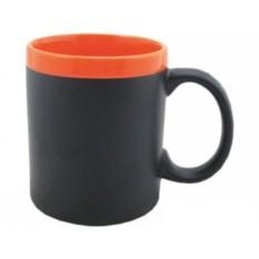 Оранжевая кружка на 320 мл с покрытием для рисования мелом