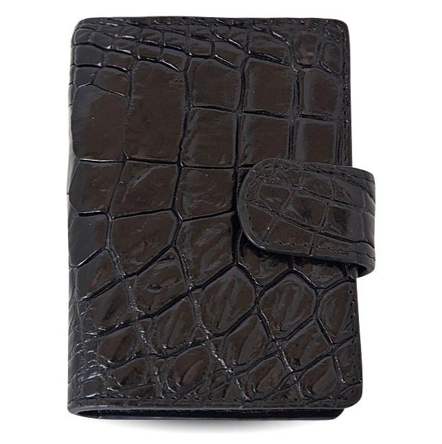 Черная визитница из натуральной кожи крокодила