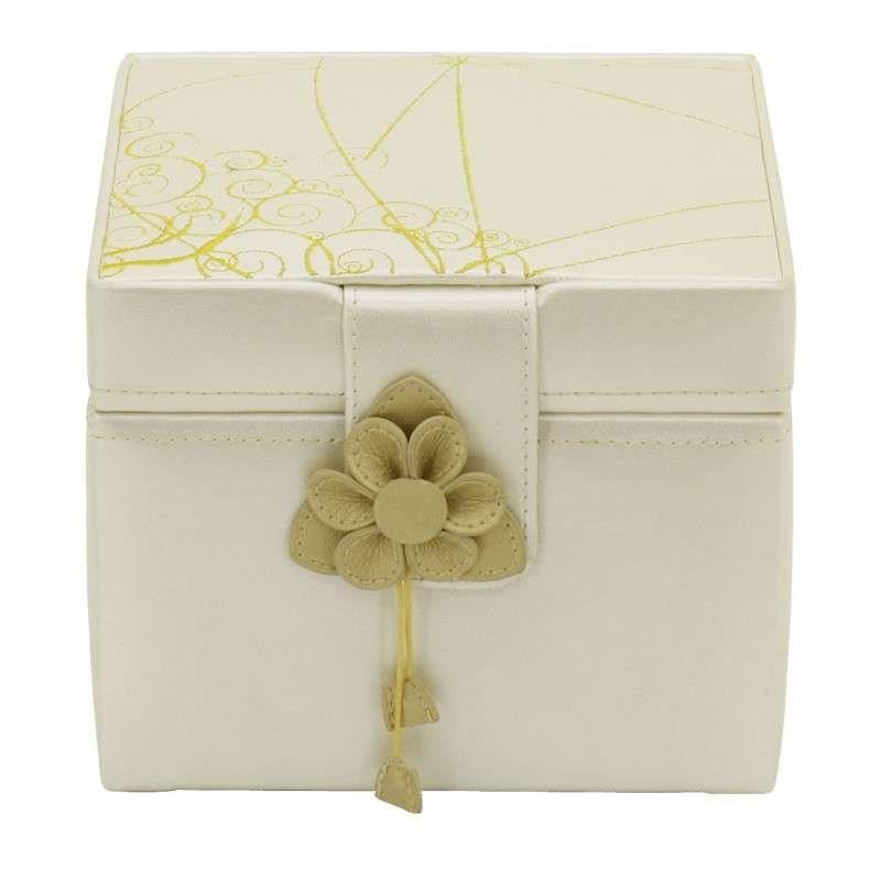 Белая шкатулка с цветком для хранения украшений