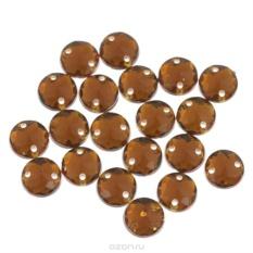 Пришивные стразы Астра, акриловые, круглые, медные, диаметр 8 мм, 20 шт