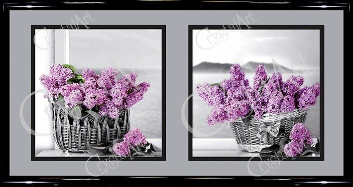 Картина с кристаллами Swarovski Натюрморт Сирень