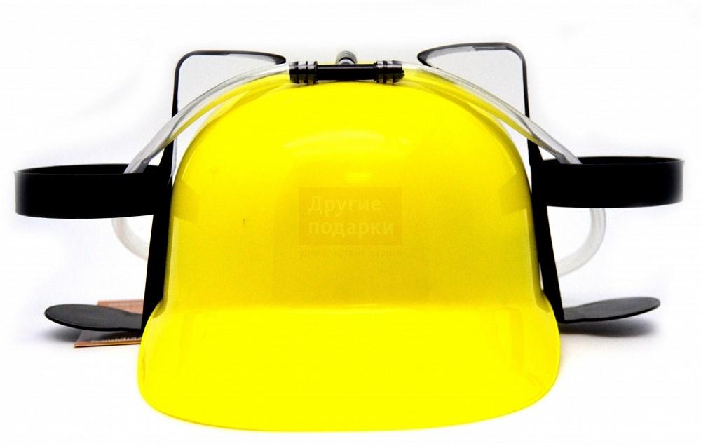 Желтая каска с подставкой под банки
